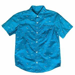 "Boys Old Navy teal ""beach scene"" button down shirt"